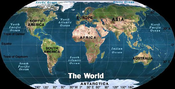 Global view of the whole world showing Africa in relation to the other continents