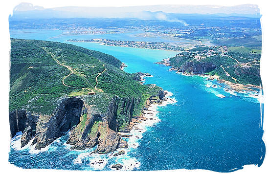 The famous Knysna heads, guarding the entrance to the lagoon