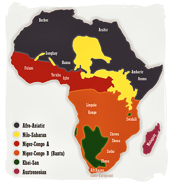 Map showing the distribution of African language families and some major African languages