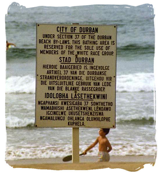 Signboard on a Durban beach during the Apartheid era
