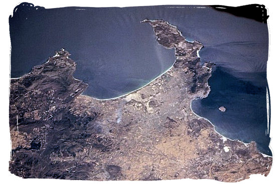 Satellite view of False Bay and the Cape Peninsula - Cape Town holiday attractions, Table Mountain National Park