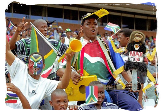 Fans of Bafana Bafana, South Africa's national soccer team - South African People, Rainbow nation