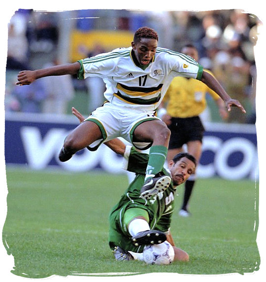 Bafana Bafana striker Benni McCarthy in action - Big 3 of South African Sports, South Africa Sports Top Ten
