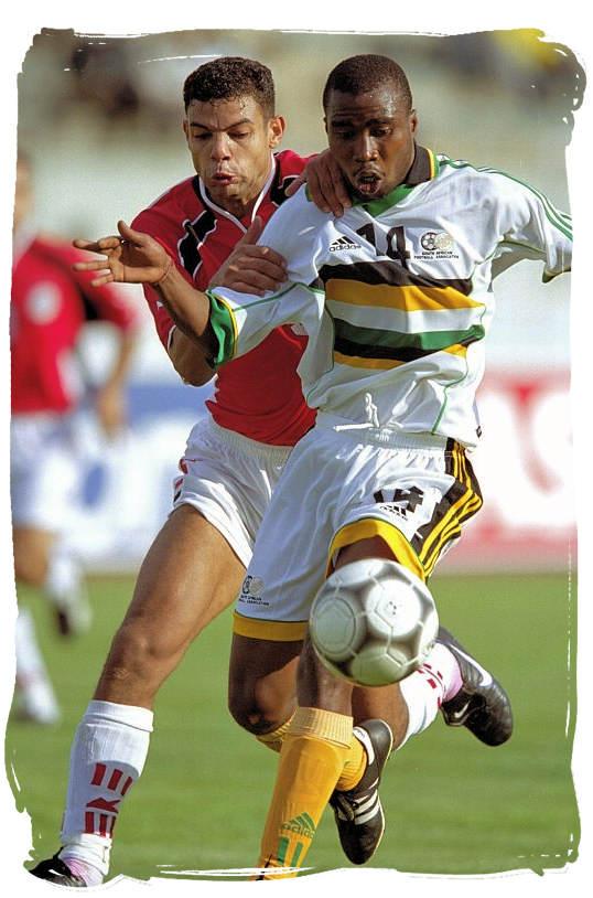 Bafana Bafana striker Siyabonga Nomvete in action - Bafana Bafana South African Soccer Team