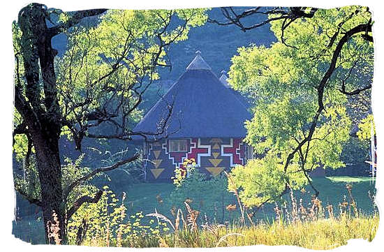 Rondawel in the Glen Reenen rest camp decorated in the traditional Basotho way - Golden Gate Highlands National Park