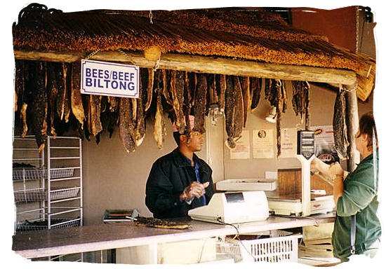 Biltong, cured and dried meat, a favourite snack with all South Africans - Delicious food in South Africa, South African food guide