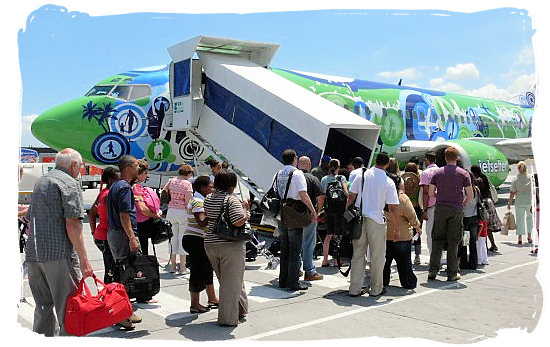 Boarding a flight Kulula Airways at Cape Town airport