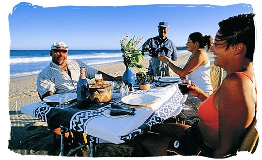 Brunch on the Indian ocean beach of Rocktail Bay Lodge in the St. Lucia Wetland Park