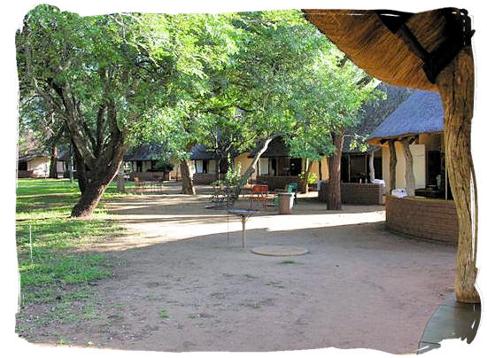 The round-shaped Rondavel accommodation inside the rest camp - Satara Rest Camp in the Kruger National Park South Africa