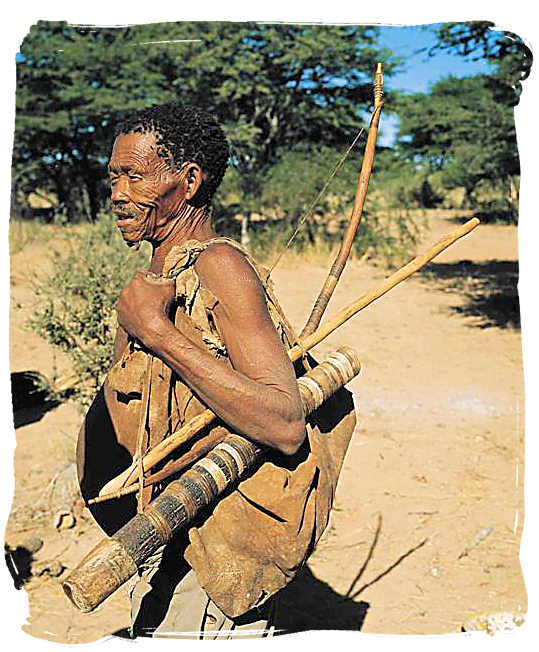 Bushman descendent of the ancient San people with traditional hunting gear - Kgalagadi Transfrontier National Park in the Kalahari, Kgalagadi Photos