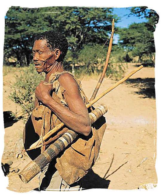 Bushman descendent of the ancient San people with traditional hunting gear - Kgalagadi Transfrontier National Park in the Kalahari, Kgalagadi Photos