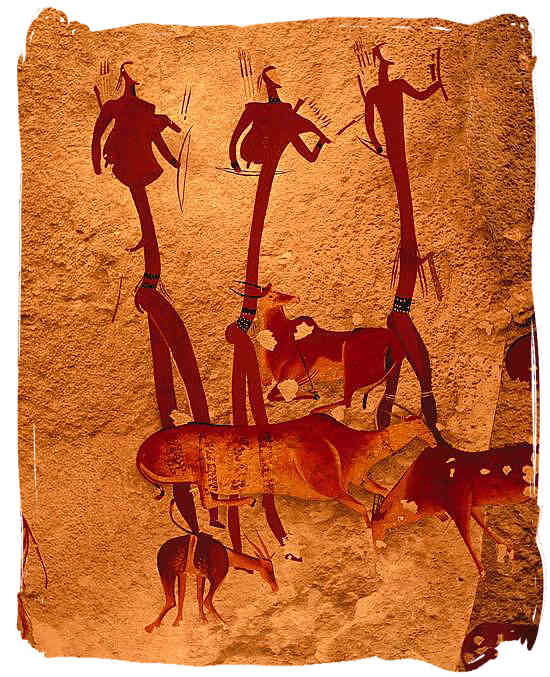 The San people have left us an invaluable legacy of marvellous animated paintings on rocks and cave walls - The San People or Bushmen of South Africa, also known as the Khoisan