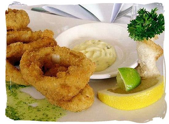 Calamari rings and tartare sauce - Portuguese food cuisine in South Africa