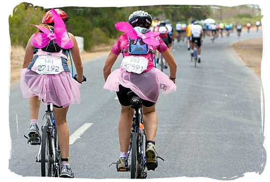 Two angels taking part in the world renown Cape Argus Pick 'n Pay cycle tour - Activity Attractions in Cape Town South Africa and the Cape Peninsula