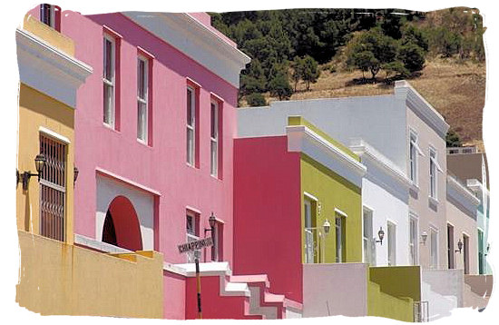 Typical Cape Malay houses in the Bo Kaap (Cape Malay quarter) in Cape Town - Cape Malay cuisine