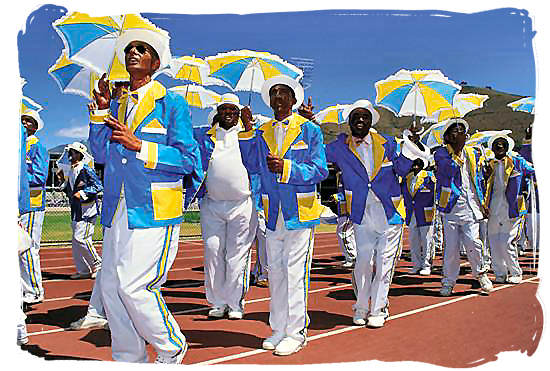 The Cape Malay Minstrels performing at the annual Cape Town Minstrel Carnival - Slaves in South Africa, History of Slavery in South Africa