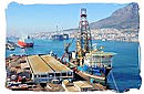 Oil rigs and drilling ships are often seen in the harbour of Cape Town