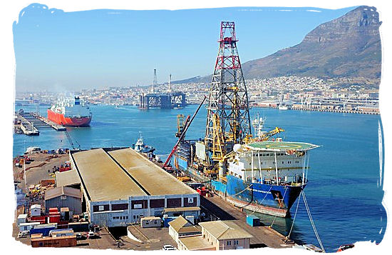 Oil rigs and drilling ships in the harbour of Cape Town