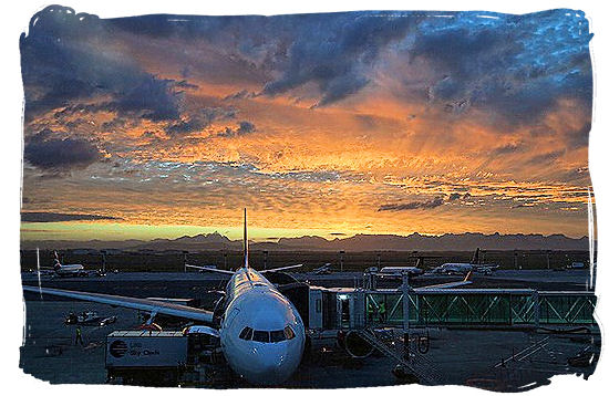 Nighttime view of the apron of Cape Town international airport in South Africa.