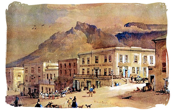 Corner Strand and Burg Streets 1862, watercolor by T.W. Bowler - History of Cape Town South Africa, Cape of Good Hope History