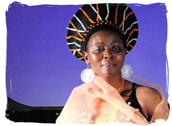 Zulu lady wearing a traditional headdress