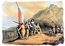 Jan van Riebeeck and his crew, meeting the local inhabitants in the Cape, the Khoisan people