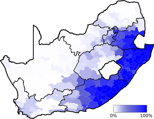 Map showing in which area of the country the Nguni speaking language group is dominant - languages of south africa, south african language