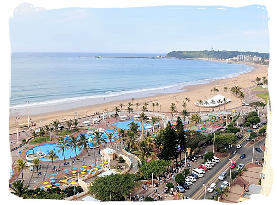 View looking south across Durban from a beach front hotel