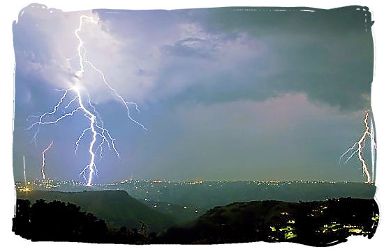 Afternoon and evening thunderstorms occur regularly in and around Durban