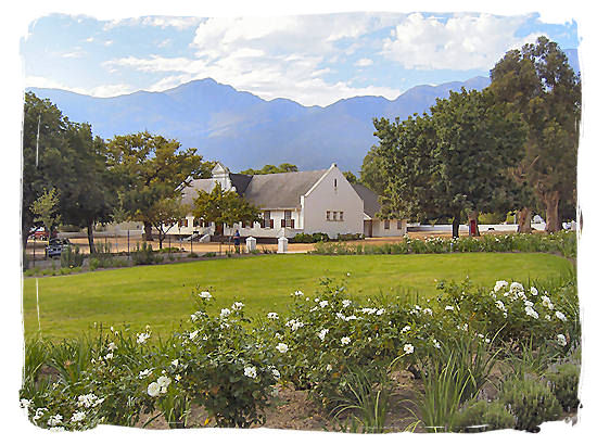 The old Dutch Reformed church in Franschhoek built in typical Cape Dutch style - The French Huguenots and the Huguenot Museum in South Africa