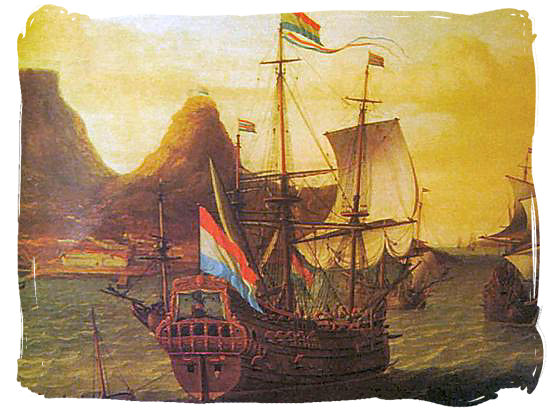Dutch ships in Table Bay South Africa in the 17th century - Jan van Riebeeck and the Cape Colony
