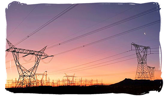 Network of electricity pylons and cables in the Orange Free State province