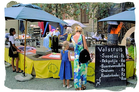 """Food stall at the """"Klein Karoo"""" arts festival in Oudtshoorn - Delicious food in South Africa, South African food guide"""