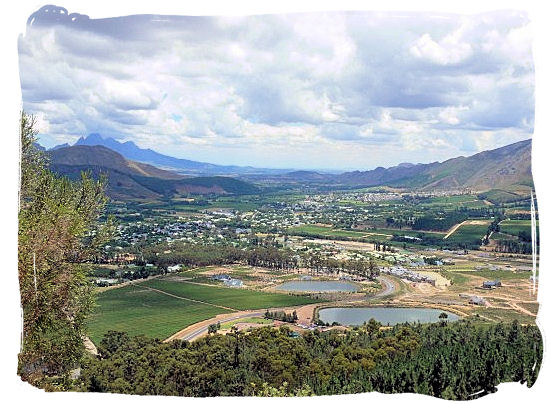 The famous Franschhoek valley, wine heartland of South Africa hemmed in by towering mountains - Cape Town South Africa wine country, Wine tours in South Africa