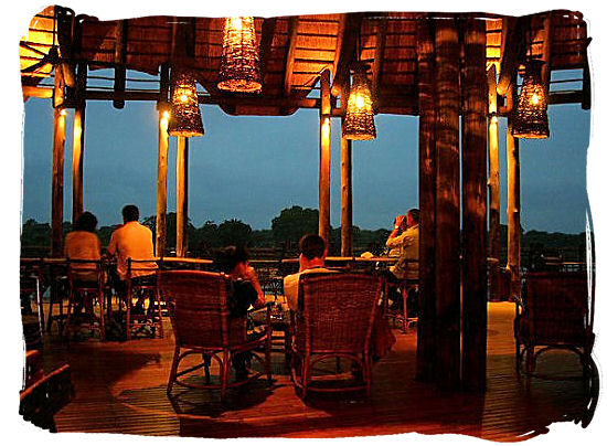 View of the restaurant and lounging area on the deck of the Lower Sabie rest camp in the Kruger National Park
