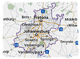 Map of Gauteng province, South Africa