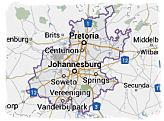Map of Gauteng province, South Africa
