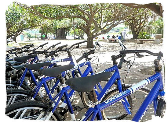 Bicycles waiting to be hired to go sightseeing