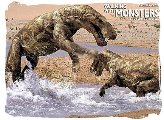 """A screen shot from the BBC documentary """"Walking with monsters"""", showing what the Gorgonopsian may have looked like"""