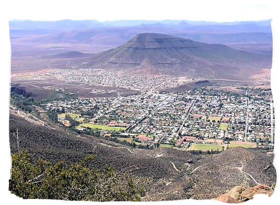 View of Graaff-Reinet from the Toposcope area on Cave mountain