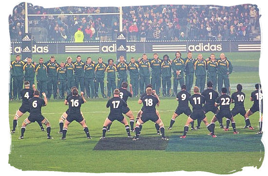 """The All Blacks of New Zealand performing the """"Haka"""" in front of the Springbok team before the start of a match in 2006 - Springbok rugby in South Africa and the South Africa rugby team"""