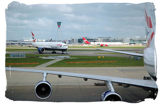 Taxiing aircraft at Heathrow airport, London.