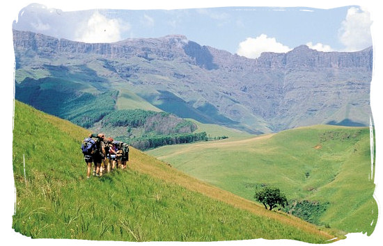 Hikers in the Drakensberg mountains in Kwazulu Natal - Ode to Kwazulu Natal Province, Tourism, South Africa