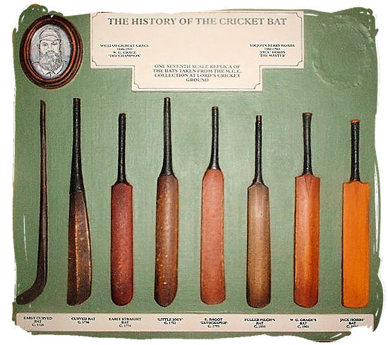 A display depicting the history of the cricket bat - Cricket South Africa