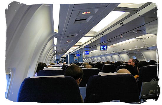 Inside of a KLM Boeing 767-300 airplane - Cheap Flights to Cape Town International Airport South Africa