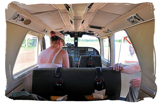 Inside the cabin of a Fly-In safari airplane