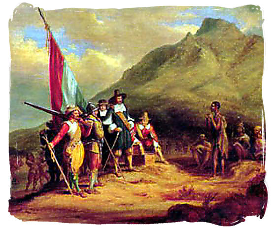 Dutch seafarer Jan van Riebeeck and his men meeting the indigenous Khoisan people at Table bay in 1652 - Cape colony