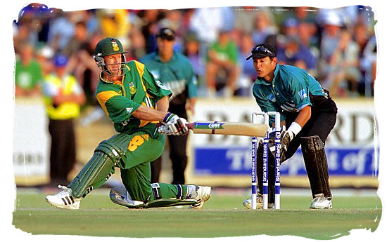 South African batsman Jonty Rhodes (now retired) sweeps another boundary against New Zealand - South African cricket