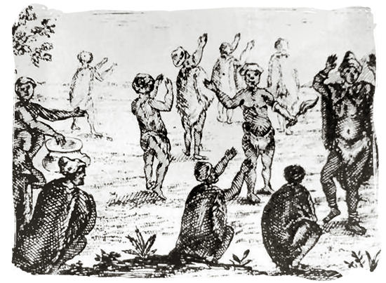 An 18th century drawing of Khoikhoi worshipping the moon - The San People or Bushmen of South Africa, also known as the Khoisan