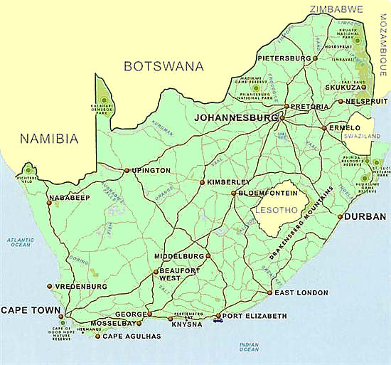 Map showing South Africa's major cities